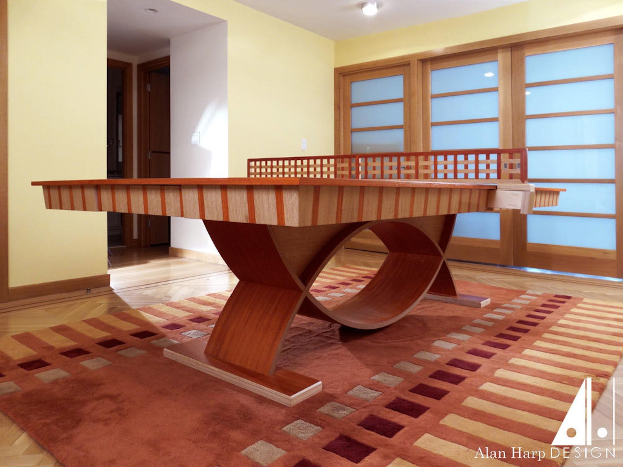 White Oak and Padauk Ping Pong Table