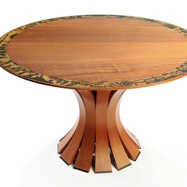 Lotus Base Table with Antique Tool Collection Inlay