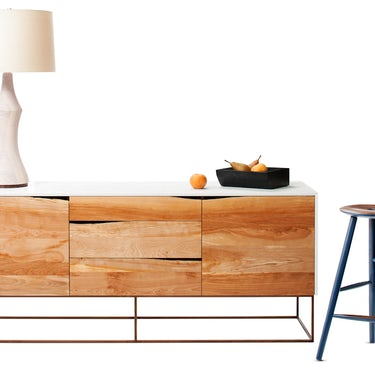 Rustic Modern Credenza, Turned Lamp, Anny Stool